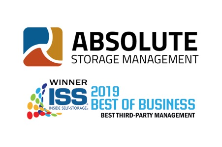 absolute storage management logo next to the iss 2019 best of business award logo