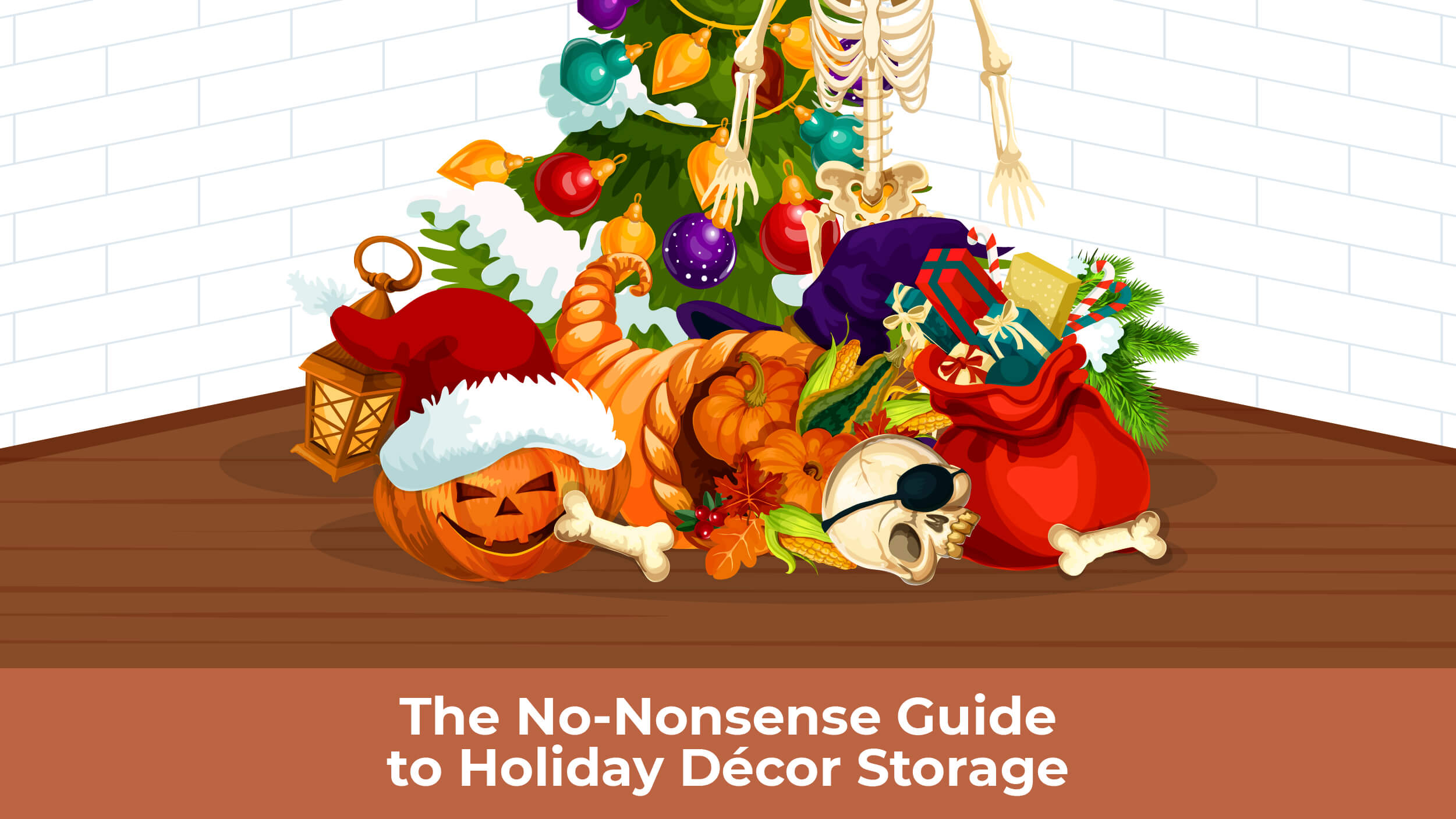 a jumbled up pile of holiday decorations, including a jack o'lantern, skull, fall decor, and Christmas items.