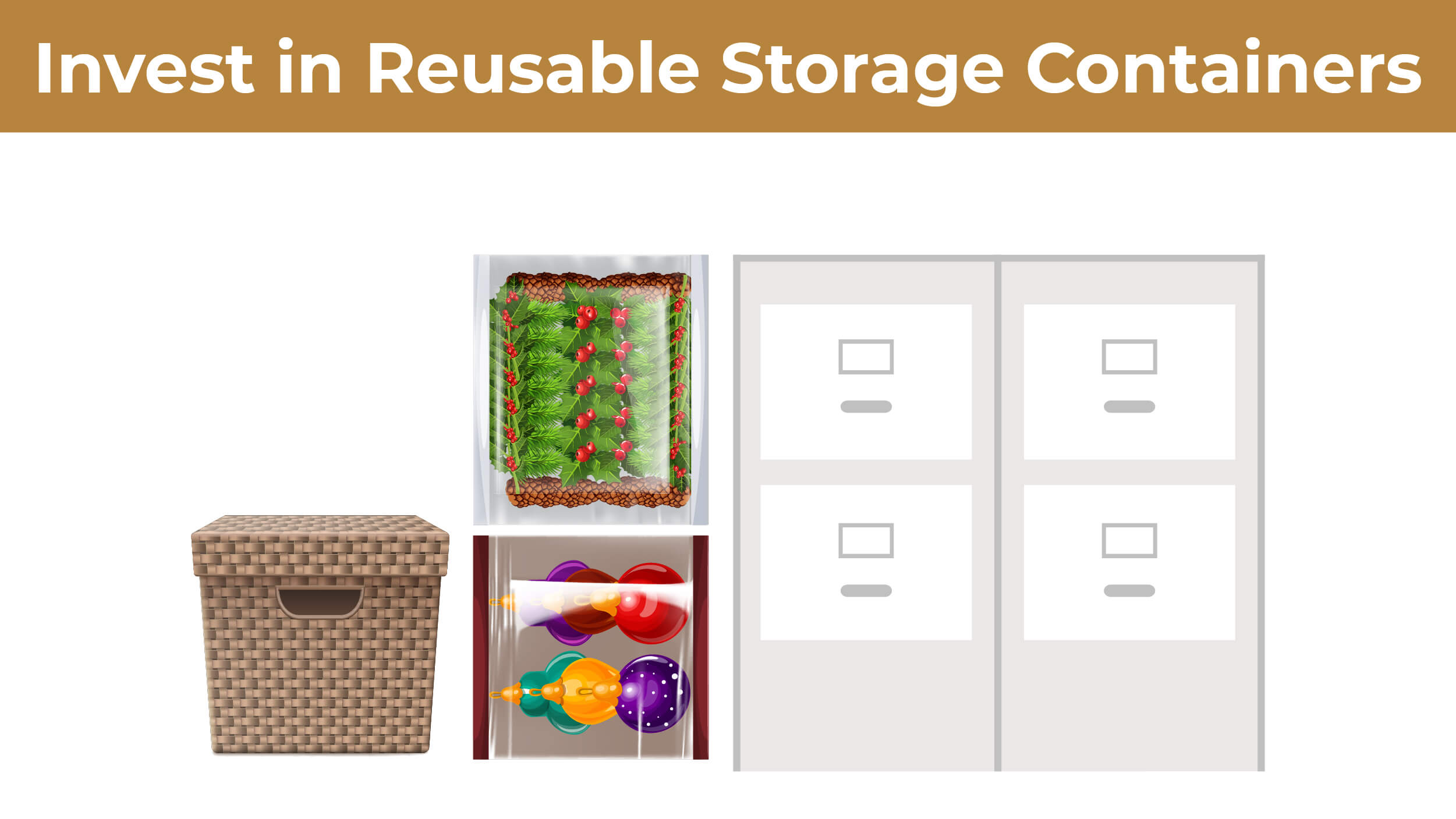 A collection of reusable storage containers including plastic totes, filing cabinets, and baskets.