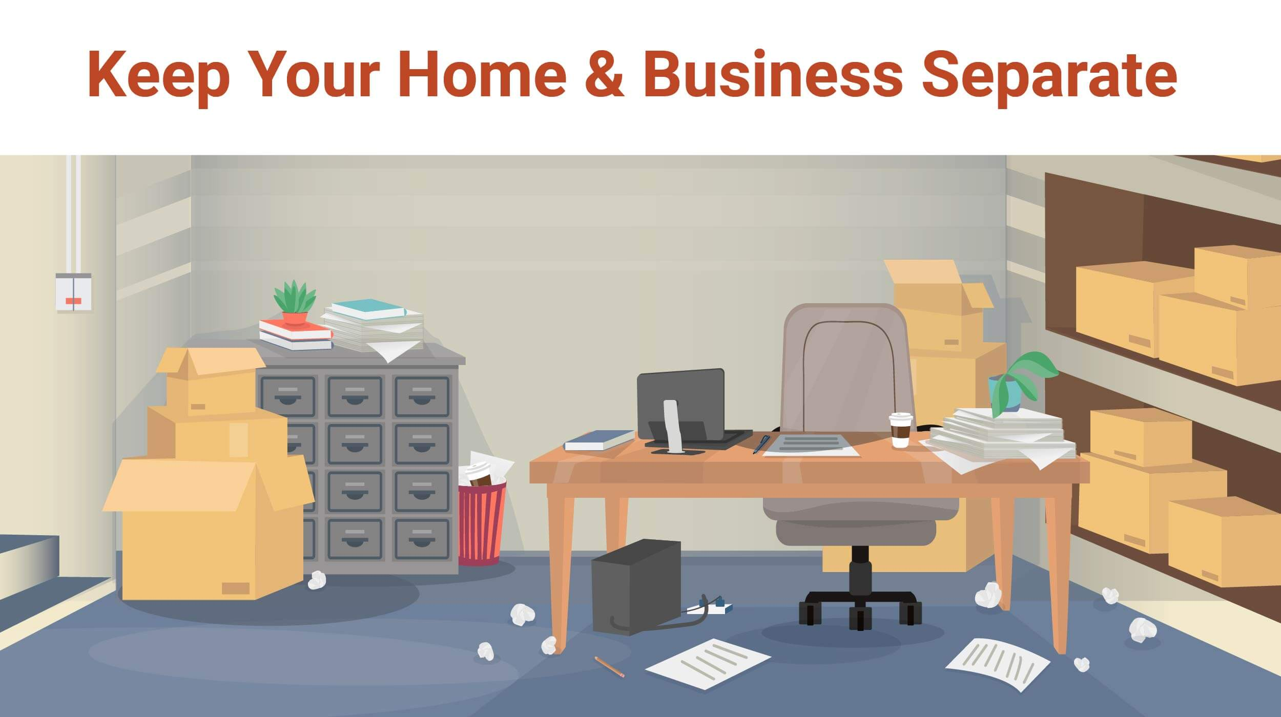 A cluttered garage office with boxes, a messy desk, and lots of room for improvement. Self storage can help keep your home and business separate.